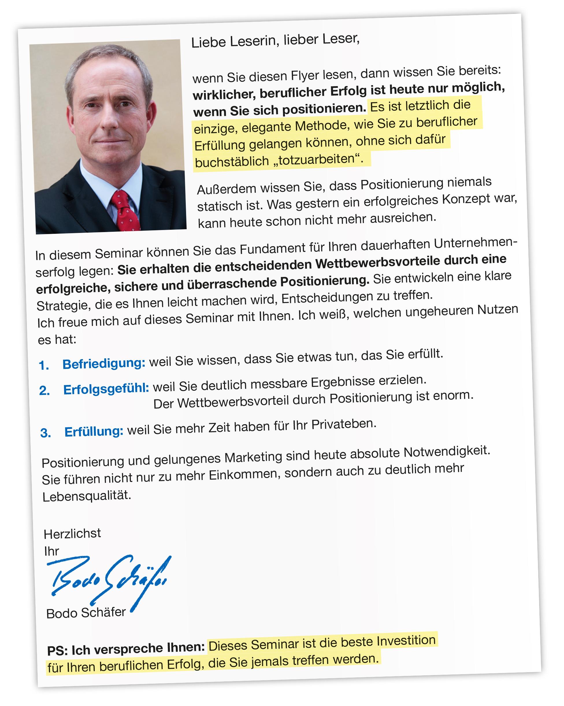 Brief von Bodo Schäfer